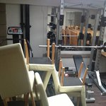Storing chairs in the gym!