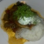 Pan Seared Swordfish with aromatic jasmine rice, spicy eggplant
