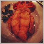 signature flash fried lobster tail with drawn butter and honey mustard sauce