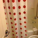 Polka dot shower curtain in bathroom
