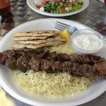 Lamb with rice and tzaziki