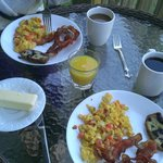 Breakfast on the patio.