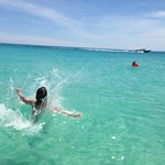 jumping into water from outrigger