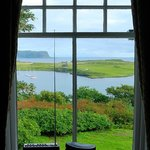 View from the Goroghon Room of St Edward's Chapel on Sanday, and Rum beyond.