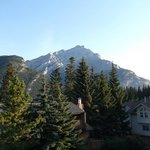 Veiw back patio. Stoney Squaw and Cascade Mtn.