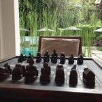 Chess on the verandah in the common areas