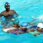 At swimming pool with my children