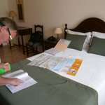 Our Room planning our route for tomorrow