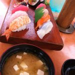 Miso/Seaweed soup and Furusato Sushi set