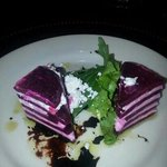 Secret dinner 1st course.Roasted beet napolean. yummy!