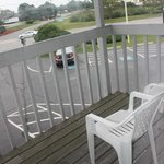 Balcony overlooking parking lot