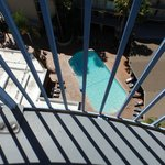 View of very popular pool from our balcony