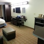 Queen Suite. Has full sleeper sofa (didn't use), mini bar area, another table and chairs, and mo