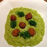 the food - a very green looking broccoli and Stilton risotto