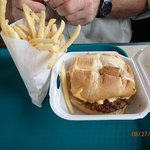 The order of fries and cheeseburger