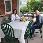 Front porch breakfast with Monica's father
