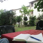 Writing from the hotel grounds