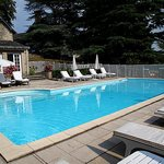 The bath house attached to the outdoor swimming pool enhances your visit.