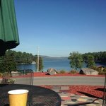 Morning coffee from restaurant, overlooking the lake.