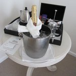 welcoming sparkling wine in room