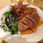 Duck breast on butternut squash with chilly corn fries