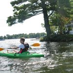 kayaking in front of the gazebo