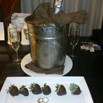Complimentary champagne and chocolate covered strawberries from the hotel