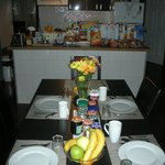 Breakfast - table - they prepare a day before, hummmm