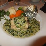 Halibut with spinach sauce