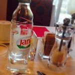Bottled Jana water is served with breakfast