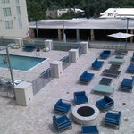 View from our room of the pool and fire pit area.