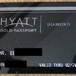 Hyatt Gold Passport Diamond level membership card