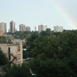View of downtown Denver from our balcony + rainbow