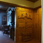 The wood work in the foyer