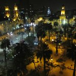view at night of Plaza de Armas