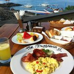 Breakfast overlooking the beach.