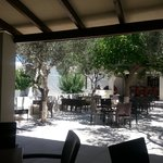 Lovely shaded eating area at Ourania