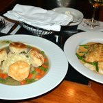 Chicken Pot Pie on the left and Rockfish on the right