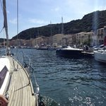arriving to Bonifacio on Gabriele's boat