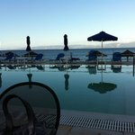 Paxos Beach Hotel - view over pool to Greek mainland