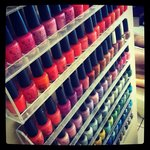 A wide variety of polish including OPI, Essie, CND Shellac and Vinylux