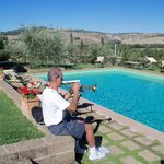 Trumpet by the pool in Tuscany