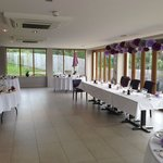 The main function room - set up for wedding dining