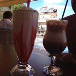 Milkshake and Frappe with ice cream at the upper pool bar