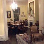 A peek into the dining room at night.  Don't miss breakfast time in the morning!  Great food and