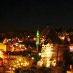 night time view over Goreme from terrace