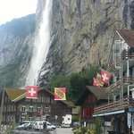 Near Staubbach Falls - hotel is on right side of pic with flags