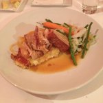 Slow Roast Belly of Pork on apple mash , with fresh vegatables