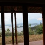 View from the bed overlooking Lake Mutanda