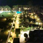 View over pool by night
